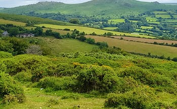 Dartmoor view of hills with rocky outcrops