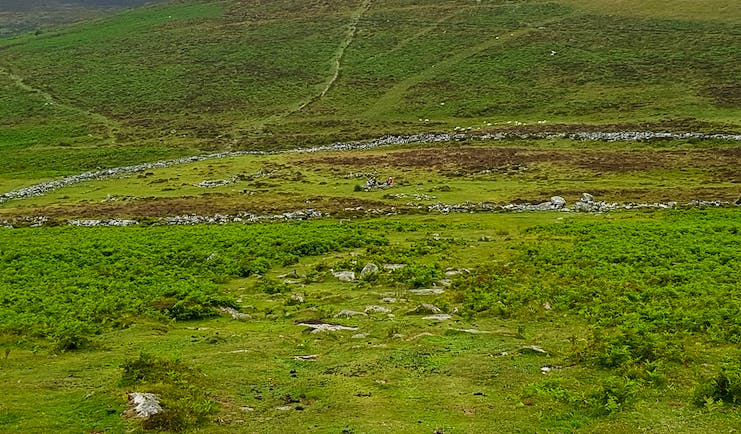Dartmoor prehistoric settlement of Grimspound with tor behind