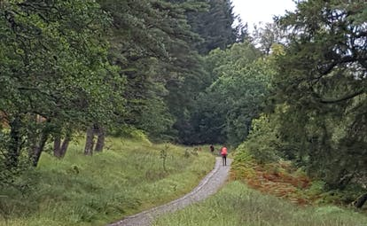 West highland way walker in red top on track