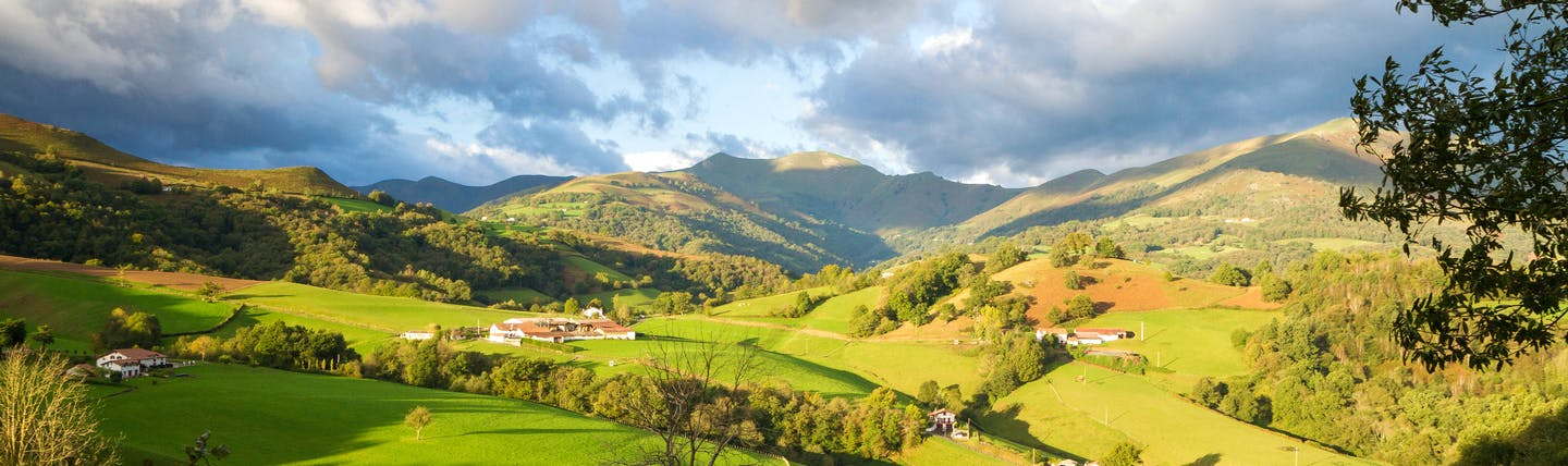 Green patchwork of hills in French Basque country