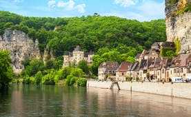 Dordogne river with village along the river banks