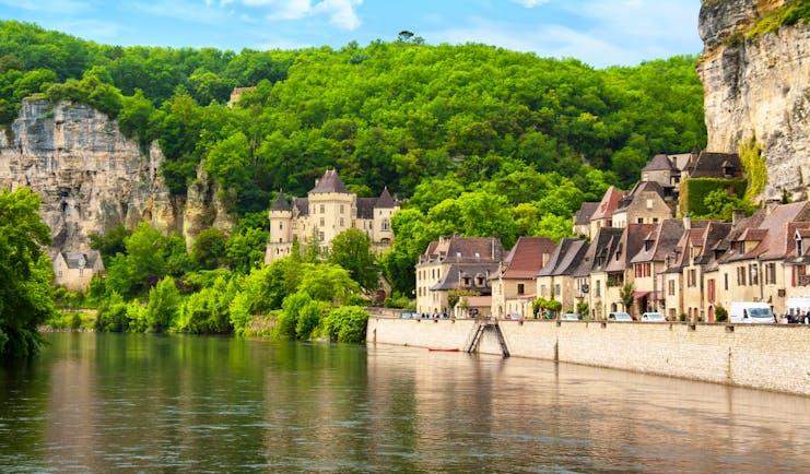 Dordogne river with village along the river banks