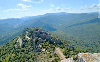 Walking in Cathar country green hills and castle