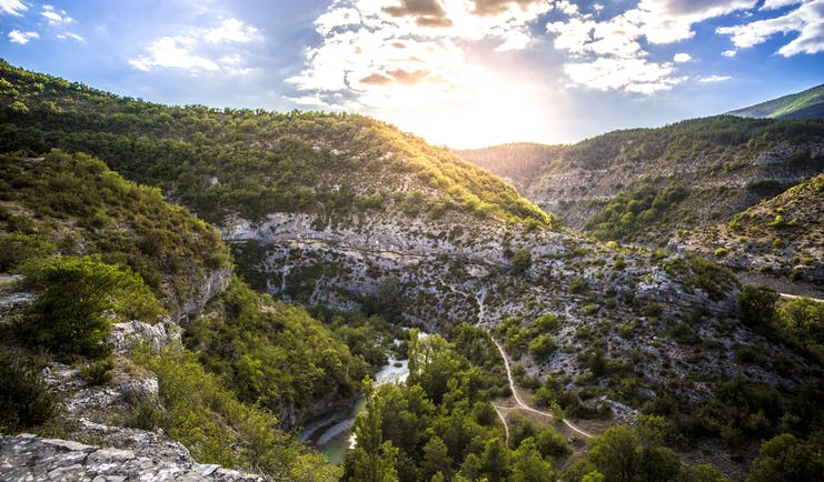 Gorges du Verdon rocky deep gorge with bright turquoise water and craggy cliffs