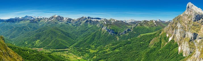 Mountain scene in the Picos de Europa in northern Spain